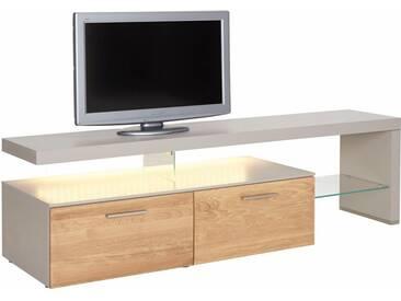 NETFURN BY GWINNER Lowboard mit TV-Brücke »SOLANO«, Lack fango, mit 2 Schubladen, Breite 195 cm, natur, TV-Bank rechts, Mit Beleuchtung