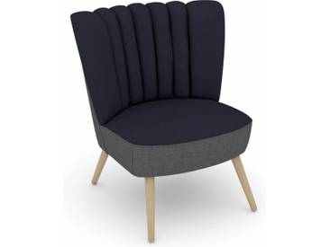 Max Winzer® build-a-chair Stuhlsessel »Aspen« im Retrolook, zum Selbstgestalten, blau, Korpus: Flachgewebe 16452 grau, Flachgewebe 16452 dkl.blau