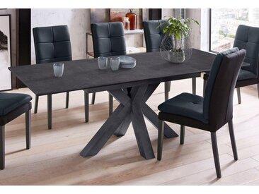 Esstisch, Breite 160 cm mit Auszugsfunktion, schwarz, schwarzstahl-keramik dunkel