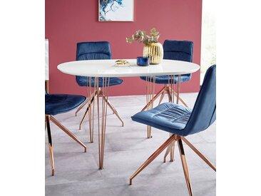 Esstisch mit kupferfarbenen Beinen, Breite 120 oder 160 cm, weiß, Breite 120 cm, Weiß Hochglanz