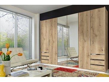 Fresh To Go Kleiderschrank »Level«, braun, Breite 300 cm, 6-türig, Höhe 216 cm, plankeneichefarben