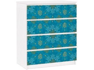 Bilderwelten Möbelfolie für IKEA Malm Kommode »Orientalisches Ornament Türkis«, bunt, Farbig