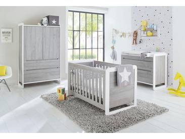 Pinolino® Pinolino Babyzimmer Set »Curve« breit (3-tlg.), weiß, weiß/grau