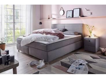 Boxspringbett mit Topper und Zierkissen, in diversen Ausführungen, grau, Bonnell-Federkernmatratze, H2, Strukturstoff grau 308/09