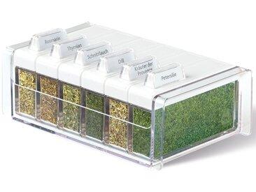 Emsa Gewürzbehälter »mit 6 Gewürzen«, Kunststoff, mit 6 Gewürzen, weiß, weiß-transparent