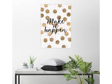 Posterlounge Wandbild - Elisabeth Fredriksson »Make it happen 2«, weiß, Holzbild, 70 x 100 cm, weiß