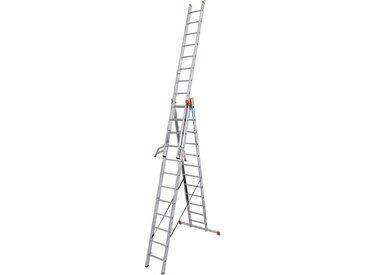 KRAUSE Vielzweckleiter »Tribilo«, mit Leiternspitzen, 3x12 Sprossen, silberfarben, 36, silberfarben