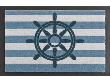 HANSE Home Fußmatte »Steuerrad«, rechteckig, Höhe 7 mm, rutschhemmend beschichtet, blau, 7 mm, blau-weiß