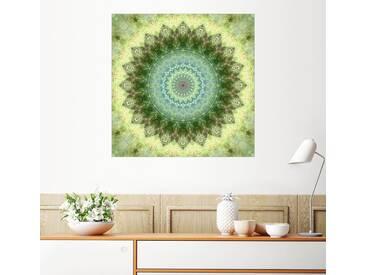 Posterlounge Wandbild - Christine Bässler »Mandala grüngelb«, grün, Holzbild, 120 x 120 cm, grün