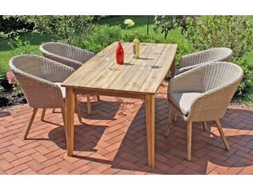 Garden Pleasure GARDEN PLEASURE Gartenmöbelset »VISALIA«, 9-tlg., 4 Stühle, Tisch, Akazie/Polyrattan, inkl. Auflage, braun, braun
