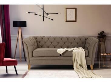 Home affaire 2-Sitzer »Newport«, mit Knopfheftung im Rücken, Keder und feinen Armlehnen, braun, 175 cm, mittelbraun