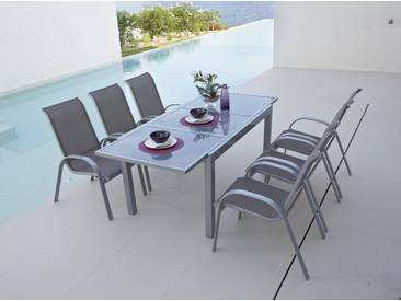 MERXX Gartenmöbelset »Amalfi«, 7-tlg., 6 Sessel, Tisch 90x140-200 cm, Alu/Textil, braun, taupe