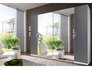 Wimex Dreh-/Schwebetürenschrank »Lotto«, grau, Breite 270 cm, ingesamt 10 Böden, weiß-graphit/Spiegel