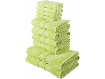 my home Handtuch Set »Ada« (Set, 10-tlg), mit abgesetzter Bordüre (10-tlg. Set), grün, grün