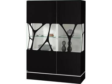 LEONARDO living Highboard »CUBE« mit Genetics, Höhe 110 cm, schwarz, Mit neutralweißer Beleuchtung, schwarz
