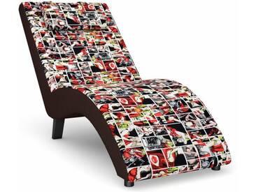 Max Winzer® build-a-chair Relaxliege »Nova«, inklusive Nackenkissen, zum Selbstgestalten, bunt, Korpus: Kunstleder braun