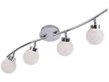 Leuchten Direkt LEUCHTEN DIREKT LED-Deckenleuchte Strahlerleiste, Crackle Kugel 4-flammig »MIKO«, silberfarben, chromfarbig