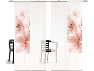emotion textiles Schiebegardine »Lilie TR«, Klettband (4 Stück), inkl. Befestigungszubehör, rosa, Klettband, transparent, rosé
