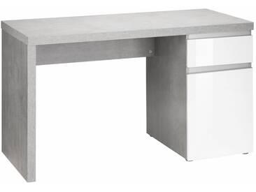 HMW Schreibtisch »Ben«, grifflose Optik, grau, betonfarben / weiß Hochglanz
