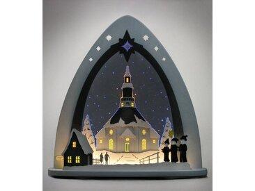 Weigla Lichterbogen »Seiffener Kirche«, in 3D Optik, blau, grau-blau