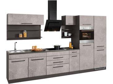 HELD MÖBEL Küchenzeile »Tulsa«, ohne E-Geräte, Breite 330 cm, grau, betonfarben