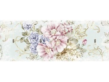 Artland Schlüsselbrett »tanginuk1205: Blumen mit nahtlosem Muster«, rosa, 14.8x40 cm, Pink
