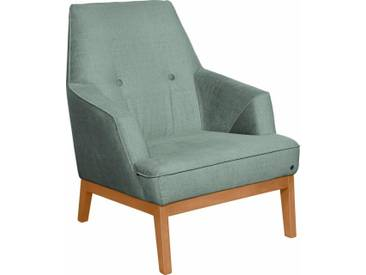 TOM TAILOR Sessel »COZY«, im Retrolook, mit Kedernaht und Knöpfung, Füße Buche natur, grün, celadon STC 3