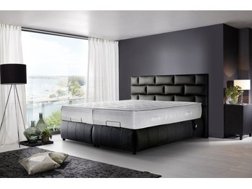 Kasper-Wohndesign Boxspringbett elektrisch Echtleder schwarz versch. Größen »RELLA«, 160 x 210 cm, schwarz
