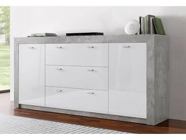 Sideboard, Breite 188 cm, grau, ohne Aufbauservice, Beton-Optik/weiß Hochglanz