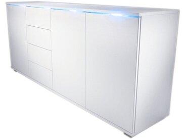 Kommode, weiß, Breite 82 cm, 1-trg., weiß/weiß Hochglanz