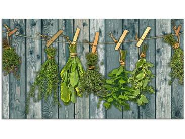 Artland Küchenrückwände »Team 5: Kräuter mit Holzoptik«, grün, 55x100 cm, Grün