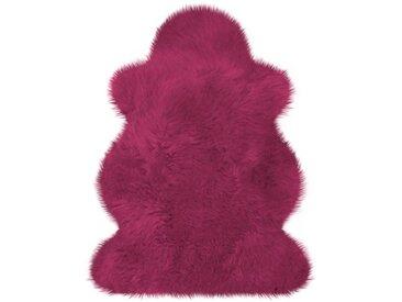 Heitmann Felle Fellteppich »Lammfell farbig«, fellförmig, Höhe 70 mm, echtes Austral. Lammfell, lila, beere