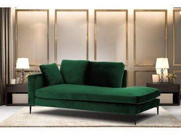 Leonique Recamiere »Cozy«, mit losen Kissen und Metallbeinen, Armlehne links oder rechts wählbar, grün, Armlehne links, dunkelgrün