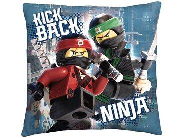 Wende- Kuschelkissen LEGO Ninjago Movie, 40 x 40 cm, blau, blau/grau