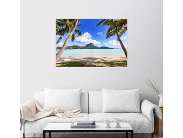 Posterlounge Wandbild - Matteo Colombo »Palmen am Strand, Bora Bora«, bunt, Leinwandbild, 30 x 20 cm, bunt