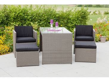 MERXX Set: Gartenmöbelset »Merano«, 11-tlg., 2 Sessel, 2 Hocker, Tisch 128x70 cm, Polyrattan, grau, grau