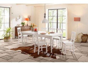 Home affaire Essgruppe »Merida«, 5 tlg. oder 7tlg., weiß, 140-179/77 cm & 4er Pack Stühle, weiß