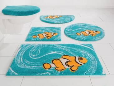 Grund Badematte »Nemo« , Höhe 20 mm, fußbodenheizungsgeeignet, schnell trocknend, strapazierfähig, rutschhemmender Rücken, blau, 20 mm, türkis-orange