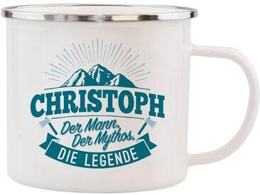 HTI-Living Echter Kerl Emaille Becher »Christoph«, weiß, Weiß