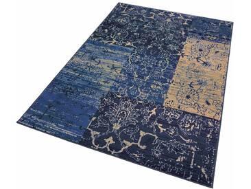 my home Teppich »Bennet«, rechteckig, Höhe 7 mm, Vintage Design, blau, 7 mm, blau