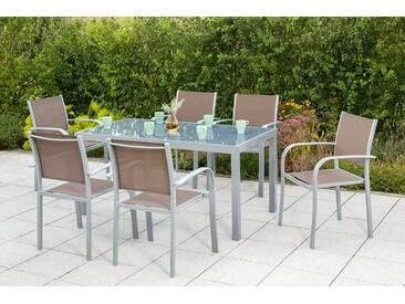 MERXX Gartenmöbelset »Ostia«, 7-tlg., 6 Stapelsessel, Tisch 150x90 cm, Aluminium, natur, taupe/grau