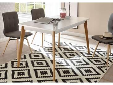 andas Esstisch »Merle« im skandinavischen Design, Breite 140 (-180) cm, weiß, Tischplatte Weiss matt/ Tischbeine Natureiche lackiert