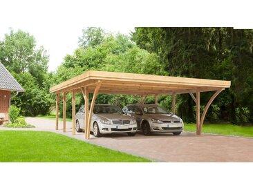 Kiehn-Holz Doppelcarport »KH 105«, BxT: 604x760 cm, mit Alu-Dach, grün, 556 cm, grün