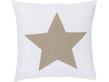 ELBERSDRUCKE Kissen, Elbersdrucke, »BIG STAR« (1 Stück), weiß, Baumwolle, weiß-braun