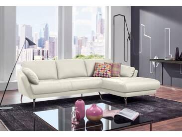 W.SCHILLIG Polsterecke »softy« mit Heftung im Sitz, weiß, Recamiere rechts, weiß