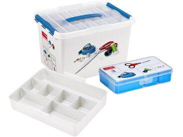 Sunware Aufbewahrungsbox »Nähkasten 22 Liter mit Einsatz + 5 Fächer«, weiß, transparent/blau
