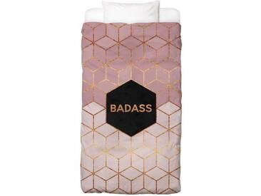 Juniqe Bettwäsche »Badass«, In vielen weiteren Designs erhältlich, schwarz, 1x 135x200 cm, Renforcé, schwarz-rosa