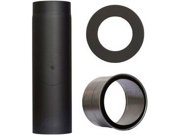 Color Emajl COLOR EMAJL Rauchrohr »Set 350 mm Länge in Schwarz«, Ø 130 mm, Ofenrohr für Kaminöfen, schwarz, schwarz