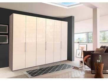 WIEMANN Panorama-Falttürenkleiderschrank »Loft«, Glasfront, natur, Höhe 216 cm, Breite 300 cm, 6-türig, Trüffeleichefarben/Magnolie Glas