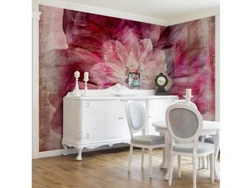 Bilderwelten Vliestapete Blumen Breit »Grunge Flower«, rosa, 225x336 cm, Pink